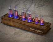 Nixie Tube Сlock Case IN-14 IN-16 6-tubes Blue Table Watch Vintage Gift Illumination Neon Home Decor 6 Digits Nixie Tube Сlock Case IN-14 16