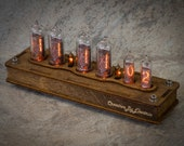 Nixie Tube Сlock Case IN-14 IN-16 6-tubes Orange Table Watch Vintage Gift Illumination Neon Home Decor 6 Digits Nixie Tube Сlock Case IN-14