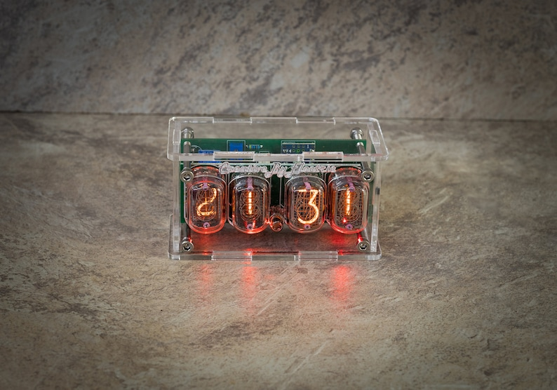 Nixie Tube Сlock Case IN-12 Red Tree Wood Neon Table Watch vintage Gift Illumination Neon Home Decor 4 Digits uhr Nixie Tube Сlock Case