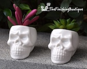 SET OF TWO Mini Skull White Ceramic Planter Pots, Tiny Flower Plant Containers