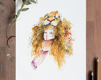 Luna with Lion Hat   High-quality art print in The format DIN A4   Drawing with colored pencil   Illustration by Afrodite Gaki