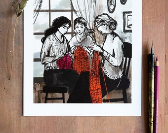 Knitting with the family in the afternoon   Handmade   High-quality art print DIN A4   Digital Illustration by Afrodite Gaki