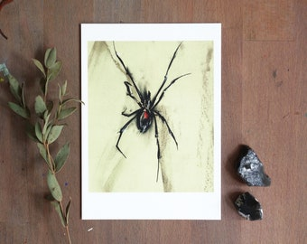 Black Widow   Spider   Greeting Card A6   Halloween Card   Postcard   Illustration Charcoal drawing with pastel by Afrodite Gaki