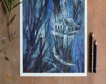 Mystical Ghost Forest   High-quality art print in The format DIN A4   Guache Illustration by Afrodite Gaki