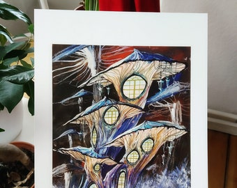 Elegant Mushroom Houses   High-quality art print in The format DIN A4   Drawing, Watercolor, Colored Pencil   Illustration by Afrodite Gaki