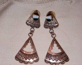 Vintage Native American Zuni Dangle Sterling With Inlaid Stone Earrings