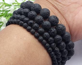 Black Lava Stone Diffuser Bracelet 4mm 6mm 8mm 10mm, Volcanic Lava Rock Chakra, Essential Oil Beaded Bracelet,  Gift for Women and Men