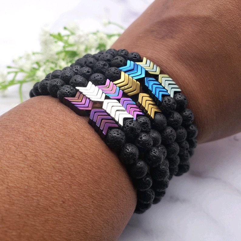 Hematite Arrow Stretch Anxiety Bracelet 7 Chakra Lava Stone image 0