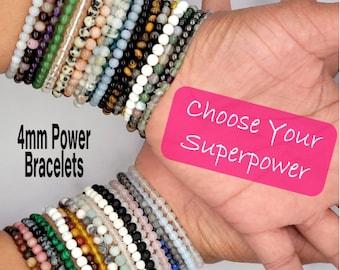 4mm Power Mini Crystal Bracelets, Natural Gemstone Healing Bead, Wealth Protect Love Anxiety, Lava Rose Quartz Apatite Indian Agate Chakra