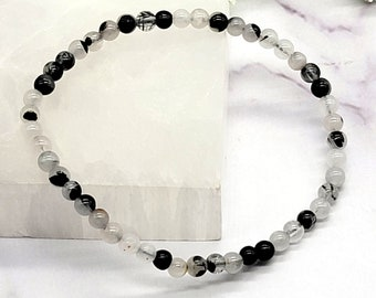Black Rutilated Quartz Bracelet, 4mm Power Mini Gemstone, Crystal Healing Energy, Fear Relief, Forgiveness, Mental Focus, Spiritual Growth