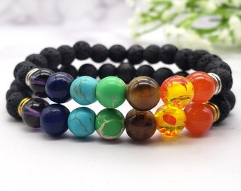 7 Chakra Bracelet, 6mm 8mm Natural Lava Stone Rock Essential Oil Bracelet, Stress Anxiety Relief, Protection Energy Healing, Yoga Crystal