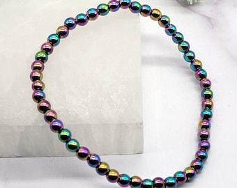 Rainbow Hematite Bracelet, 4mm Power Mini Beaded Gemstone Bracelet, Crystal Healing Energy, Balance, Meditation, Sleep, Calming, Anxiety