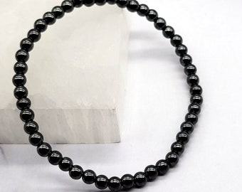 Hematite Bracelet, 4mm Power Mini Beaded Gemstone Bracelet, Crystal Healing Energy, Balance, Meditation, Sleep, Calming Stone, Anxiety