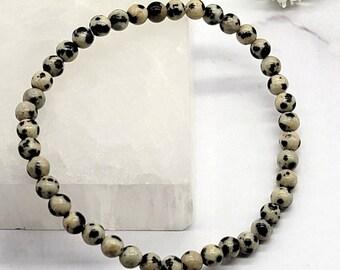 Dalmation Jasper 4mm Power Mini Gemstone Stretch Bracelet, Chakra Healing Energy Crystal, Balance Calm Protection, Friendship, Negativity