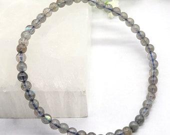 Labradorite Bracelet, 4mm Power Mini Beaded Gemstone Bracelet, Crystal Healing Energy, Mystical Psychic Abilities, Balancing Stone, Strength