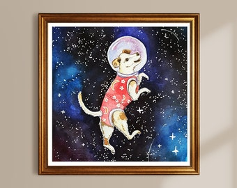 Dog in Space Limited Art Print Laika Square 24 x 24 cm
