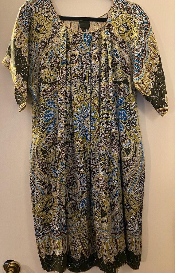 Anna Sui Paisley Silk Scarf Print Caftan Dress Sma