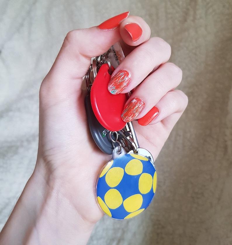 Korfball Keyring Hand Painted Plastic Keychain