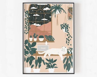 CAT WITH PLANTS illustration print