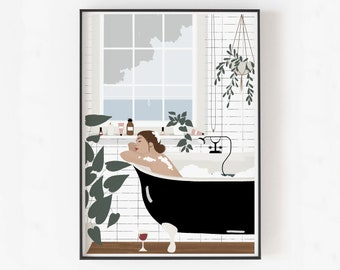 BUBBLE BATH illustration print