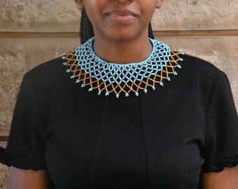 African wedding necklace African beaded necklace African wedding necklace Off shoulder necklace |