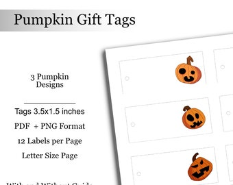 Pumpkin Gift Tags Halloween Tags Digital Downloadable Printable Spooky Pumpkin Labels Tag Treat Bag Labels Favor Bags Halloween Party