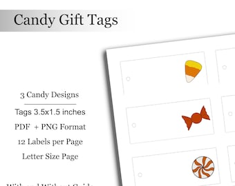 Candy Gift Tags Halloween Tags Digital Downloadable Printable Spooky Treats Labels Tag Treat Bag Labels Favor Bags Halloween Party