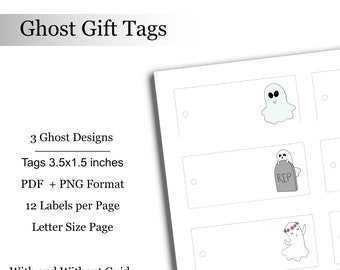 Ghost Gift Tags Halloween Tags Digital Downloadable Printable Spooky Ghost Labels Tag Treat Bag Labels Favor Bags Halloween Party
