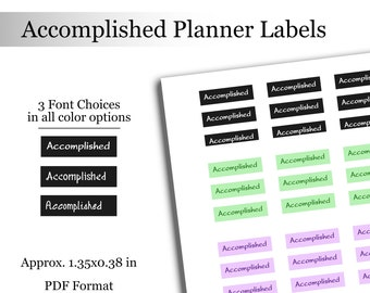 Accomplished Planner Journal Labels Personal Goals Printable Stickers Personal Growth Journal Stickers Instant Download Planner File