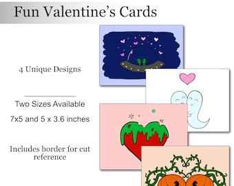 Valentine's Card Pack Digital Download Instant Printables Valentine Card Fun Alien Pumpkins Cute Love Ghosts Space Cards Valentine Pack