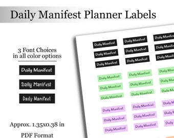 Daily Manifest Planner Journal Labels Printable Stickers Manifestation Labels Personal Growth Journal Stickers Instant Download Planner File