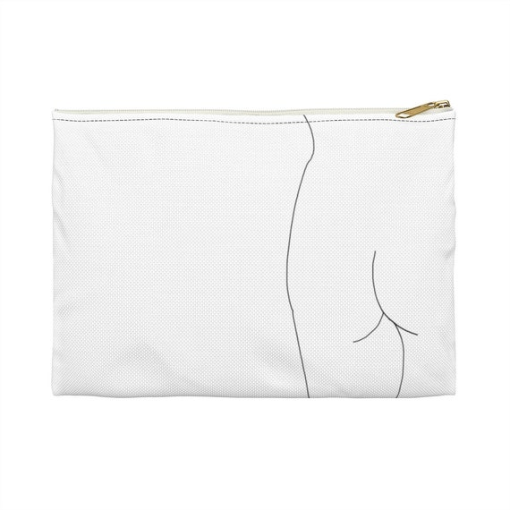 nude silhouette minimalist pencil pouch   make up with boobs Legs Crossed line art pouch feminist makeup bag feminist gift idea