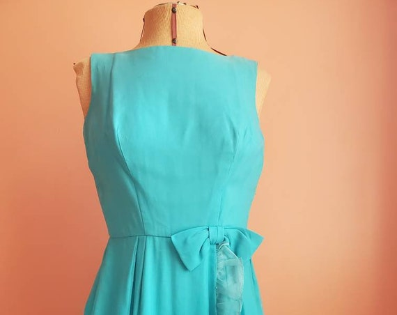 Turquoise Belle 1960s Chiffon Dress