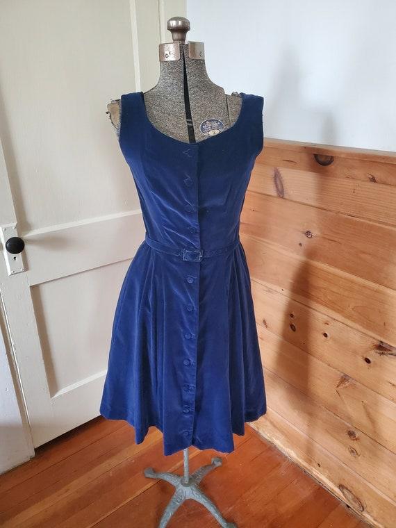 Vintage 1950's Jonathan Logan Blue Velvet Dress