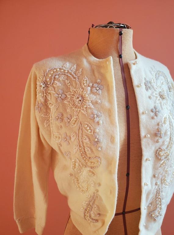 Mohan's Ltd Ivory Beaded Cardigan