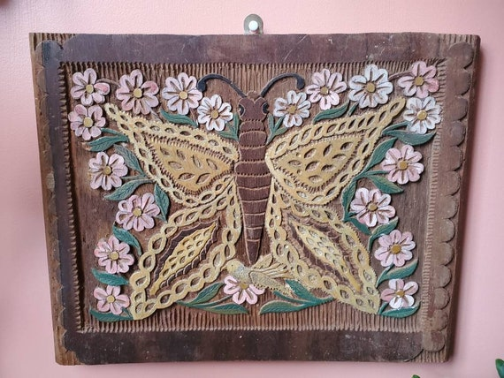 Hand Carved Wooden Butterfly