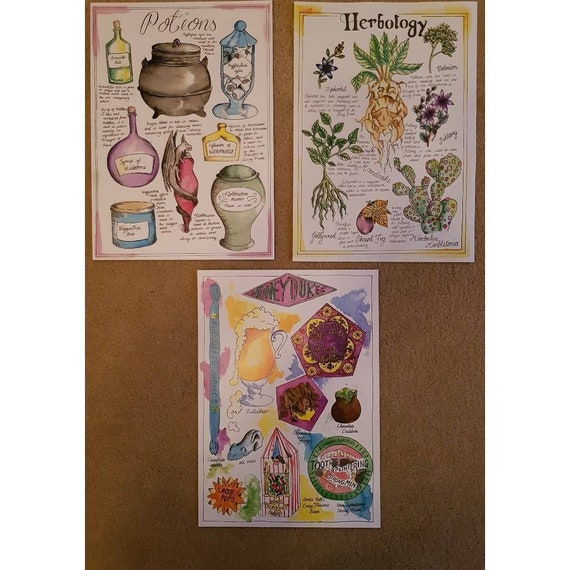 Herbology Honeydukes And Potions Harry Potter Fan Art Print Etsy