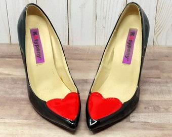 1980s Red Heart Pumps // Vintage Katy Peny Heels // Size 36