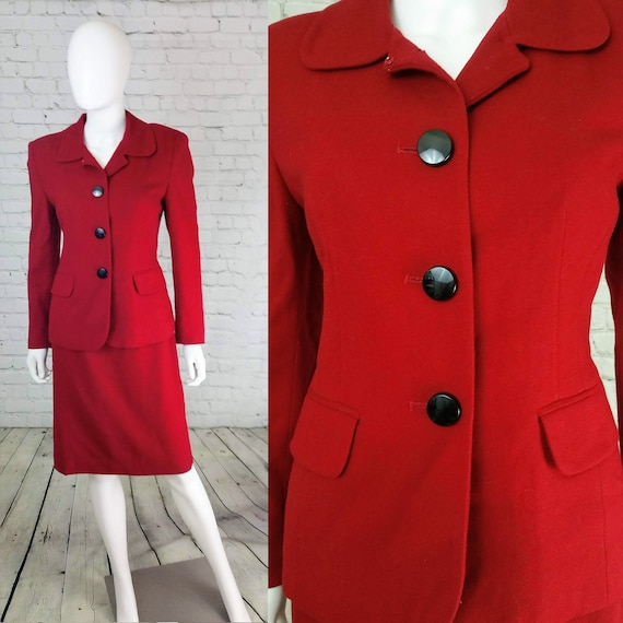 Cherry Red 90s Skirt Suit Set // Herbert Grossman