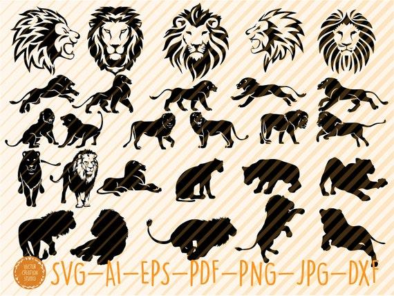 Lion Bundle Svg Lion Silhouette Lion Clipart Lions Svg Etsy