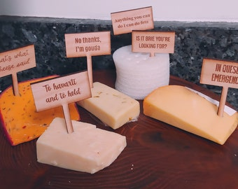 Set of 6 Engraved Wooden Cheese Markers | Charcuterie Board Pick | Cheese Markers | Cheese Names | Cheese Labels | Cheese List