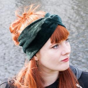 Warm headband for autumn  winter in velvet corduroy velvet velvet  in dark blue  blue  ears warmer hairband