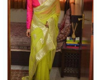 Exclusive khadi Chiffon Durga Puja Zari Work Pure Banarasi Silk Handwoven Saree Designer Weaving Fabric Sari Women With Running Blouse Piece