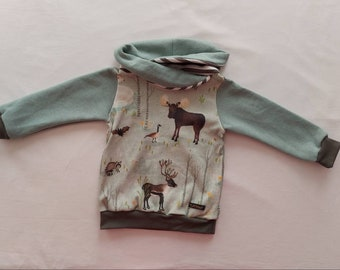 """Beautiful hoodie """"Forest Life"""" made of organic cotton with wrap collar or round neck"""