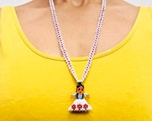 1970s-1980s kachina doll daisy chain necklace in white and red. Native American.