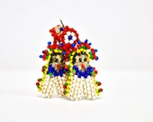 1960s-1970s colourful kachina chief doll beaded earrings. Native American.