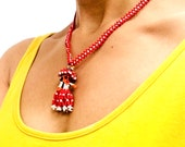 1960s-1970s kachina doll beaded necklace in red and white. Native American.