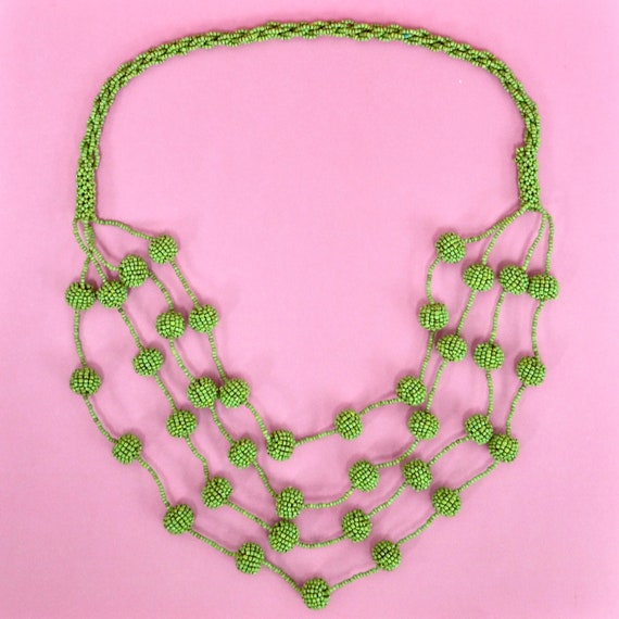 1970s/1980s lime green seed bead bib necklace
