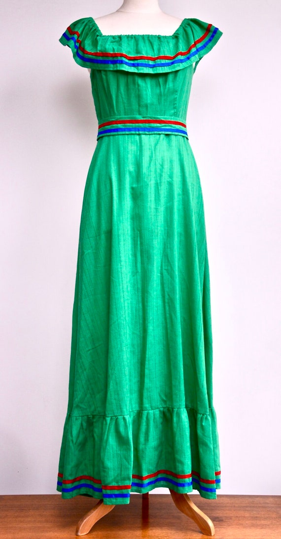 1970s Jade green off-the-shoulder maxi dress with