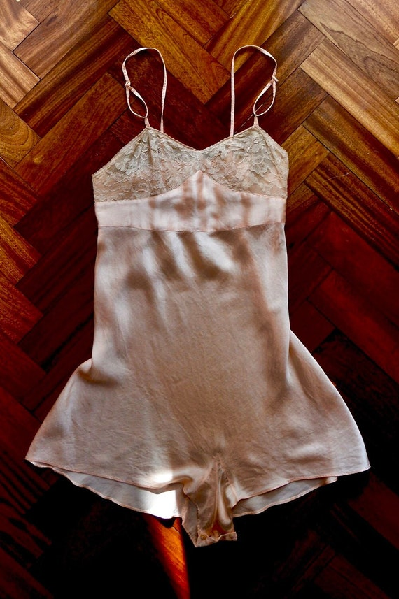 1930s peach-pink, silk satin teddy with lace bust.